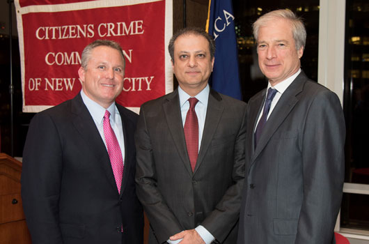 2015 honorees, Robert S. Tucker and U.S. Attorney Preet Bharara, with Crime Commission President Richard Aborn.