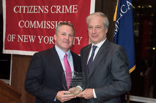 Crime Commission President Richard Aborn with honoree Robert S. Tucker of T&M Protection Resources.