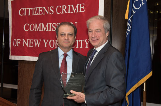 Crime Commission President Richard Aborn with honoree Preet Bharara, U.S. Attorney for the Southern District of New York.